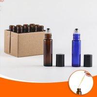 12pcs 5ml / 10 ml de verre brun / bleu sur une bouteille pour huiles essentielles, conteneurs de parfum rechargeables avec rouleaux en acier inoxydable Ballgoods
