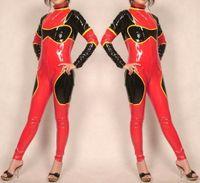 Sexy Catwoman Catwoman Code Coket Costumes Outfit Красный / черный блестящий ПВХ женский костюм для костюмов костюма нет головы / рука / нога Хэллоуин вечеринка Необычное платье косплей боди M812