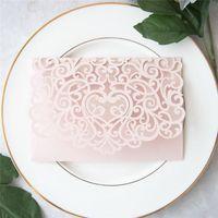 Светло-розовые перламутные бумажные приглашения, свадебные деловые открытки, кружевные выдолбленные карты приветствия