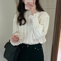 Work Wear Women Blouses Long Lantern Sleeve Shirt Casual O Neck Solid Elegant Lace Patchwork Tops Fall Blouse For Female Women's & Shirts