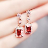 Dangle & Chandelier Natural Real Red Garnet Rectangle Drop Earring 1.2ct*2pcs Gemstone 925 Sterling Silver Fine Jewelry For Men Or Women X21