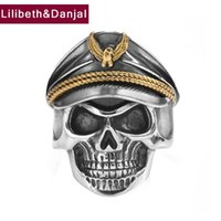 Cluster Rings Pirate Captain Skull Adjustable Ring Real 925 Sterling Silver Fashion Punk Jewelry Women Men 2021 Wholesale R36
