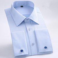 Men's Casual Shirts M~6XL Mens French Cuff Dress Shirt 2021 Long Sleeve Formal Business Buttons Regular Fit Cufflinks Wedding Tuxedo