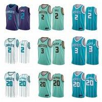CharlotteHornetsBasketbol Formaları Lamelo Topu # 2 # 3 Rozier III Gordon 20 Hayward CityDernek teal simgesi taslakBasketbol forması