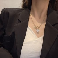 Heart Pearl Metal Chain Necklaces For Woman Korean Fashion Love Jewelry Gothic Party Girl's Sexy Clavicle Chains