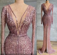 2021 Plus Size Arabic Aso Ebi Luxurious Mermaid Sparkly Prom Dresses Beaded Sequined High Split Evening Formal Party Second Reception Gowns ZJ493