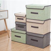 침실 보관 상자 뚜껑이있는 옷을 입은 뚜껑 화장품 주최자 저장소 접이식 파편 휴대용 방진 컨테이너 박스 FHL60-WLL