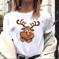 Cute Deer Tshirts Harajuku Kawaii Womens T Shirt Short Sleeves Christmas 90s Aesthetic Graphic Women Tops Tee