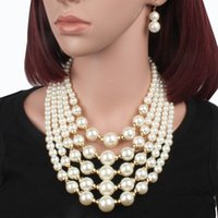 Chokers Vintage Multi-layer Imitation Pearl Choker Chains Necklaces For Women Goth Collar Wedding Jewelry Accessories Halloween Gift