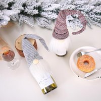 크리스마스 레드 와인 병 커버 장식 노르딕 산타 클로스 샴페인 세트 호텔 레스토랑 크리스마스 장식 LLE10430