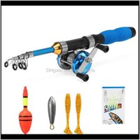 Fishing Rod And Trolling Reel Combo Kit With Baits Lures Float Sinker For Beginners Spinning Gear Pole Set Boat Rods 2Ytsa Xljti