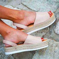Развесел женщин сандалии мягкие кожаные клинья обувь Espadriilles платформа женский высокий каблук лето 210619