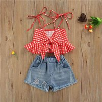 Kids Clothing Sets Girls Outfits Baby Clothes Childrens Suit Summer Children Wear Sleeveless Tank Tops Denim Shorts 2Pcs B7499
