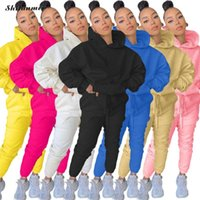 Women's Tracksuits Solid Spring 2021 Two Piece Sets Pocket Hoodie Sweatshirt + Pants Sweat Suits Casual Sporty 2 PCS Outfits Female XXL