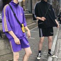 T-shirt da uomo sportiva per il tempo libero T-shirt da uomo con colletto a maniche corte cappotto sciolto tubo dritto capris moda marca di marca a due pezzi