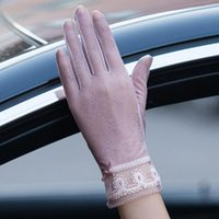 Five Fingers Gloves Women Sun Protection High Elastic Lace Design Silk Thin Touch Screen Anti-UV Skid For Outdoor Driving