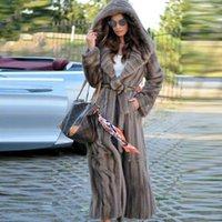 Kadın Kürk Faux Bffur 130 cm Uzun Gerçek Vizon Coat Hood ile 2021 Trendy Doğal Paltolar Lüks Kadın Dış Giyim