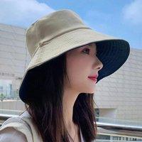 Wide Brim Hats Summer Women Sun Foldable Bucket Hat Double Side Wear Female Panama Fishing Cap Outdoor Beach Sunscreen Caps