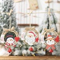 Christmas Tree Hanging Ornaments Handmade Wooden Wreath Santa Elk Snowman with Bells Home Party Decorations FWB10550