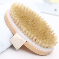 Bath Brush Dry Skin Body Soft Natural Bristle SPA The Wooden Baths Shower Bristle Brush SPA Body Brushs Without Handle 1832 V2