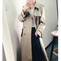 Women's Trench Coats [EWQ] Autumn 2021 Ladies Mid-length Turn Down Collar Solid Color Double-breasted Simple Slim Belt Windbreaker Women QB4