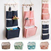 Storage Boxes & Bins Canvas Printing Cotton Linen Hanging Bag 5 Pockets Wall Mounted Wardrobe Hang Pouch Cosmetic Toys Organizer