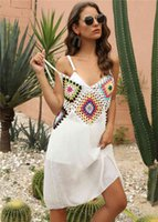 5 Color Roasted Beach Dress Tunnel Sexy White Short Cover Up Used Beachwear Batsuit Ups For Women Yellow Black Summer Dresses