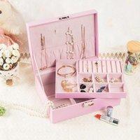 Caixa de armazenamento de jóias simples coreanas dupla grande capacidade de grande capacidade de caixas de caixas