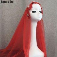 Bridal Veils Janevini Vintage Rote Perlen Blumen Stirnband Muslim Kurzer Hochzeitsschleier für Braut Zwei Schichten Accessorio Novia 2021