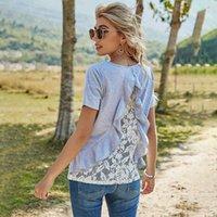Damen T-Shirt T-Shirt Frühling Sommer Massiv Pullover Loose Top O Hals Backless Rüschen Spitze Patchwork Kurzarm Tshirt Weiblich Yeve