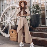 Women's Tracksuits Loose Solid Color Knitted Sweater Casual Set High Neck Belt Asymmetric Top + Pants 2 Two-Piece Suit 2021 Winter