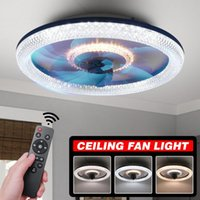 Ceiling Fans 48cm WiFi Crystal Led Fan Light With Lights Remote Control Modern Lighting Three-color Dimming