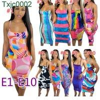 Delle donne Dresser Dresser Designer Tie Dye Senza Maniche Skirt Casual Sexy U-Neck Big Pullover Estate Casual Abbigliamento Plus Size S-2XL Dress 49 Stili