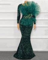 Funkly plus größe prom kleider 2021 sexy meerjungfrau langarm rüschen spitze dunkelgrün afrikanische schwarze mädchen abendkleider