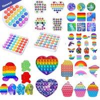 DHL Rainbow Push Fidget Toy Sensory Push Bubble Fidget Autisme Sensory Abilisme Spécial Besoins anxiété Stress Stress Reliever pour les travailleurs de bureau fluorescen