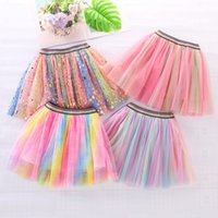 Rainbow pour enfants TUTU jupe bébé filles robe princesse maille Bouffant banquet Partie de fête de soirée polyvalente robes de soirée zyy889