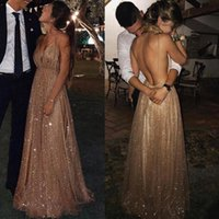 Rose Gold Long Prom Dresses 2021 New Champagne Sexy V-Neck Spaghetti Straps Sequined Formal Party Evening Gowns vestido de gala