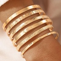 Bangle 6pcs sets Gold Color Alloy Metal Open For Women2021 Trendy Letter Carving Party Jewelry Accessories