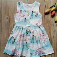Весна лето детское без рукавов напечатанное платье с открытой кнопкой модный ребенок детская девочка цветок V-образным вырезом повседневные платья юбка 90-130см HH42301
