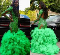 Green Ruffles Skirt Evening Pageant Dresses with Long Sleeve Sequins Applique African Black Girl Mermaid Prom Dress Robes
