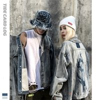 2021 tech fleeceAutumn and winter new graffiti high street hole washed denim jacket men and women decadent wind fried Street handsome jacket_yw_hh