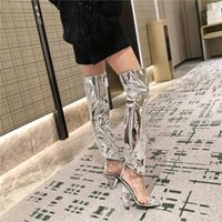 Boots Shoes Women Fashion Sandals Clear PVC Patchwork Over The Knee 2021 Point Toe Crystal Strange Heel Wedge Long Booties