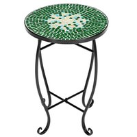 WACO Flower Glass Top Metal Art Pot Stand, Holder Plant Support Black Iron Outdoor Accent Table - Green