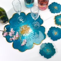 Resin Silicone White Molds DIY Tea Tray Coaster Mould Suit Flower tool Shaped Handmade Crystal Epoxy