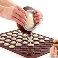 Ferramentas de pastelaria de cozimento Mat Silicone Macaron Kit conjunto de moldes, 30 cavidade macaroon folha de folha de sobremesa Fondant Fondant Bocal Decorativo Ferramenta
