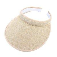 Caps & Hats Women Men Unisex Clip-On UV Protection Sun Visor Hat Faux Linen Plaid Weave Empty Open Top Solid Color Wide Brim Adjustable D5QF