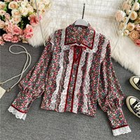 Women's Blouses & Shirts Spring Autumn Sweet Doll Collar Single-breasted Floral Shirt Female Temperament Lace Puff Sleeve Loose Blouse UK669