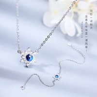 Xiaoling grey moonlight S925 silver necklace bracelet Jewelry Set snowflake two piece gift for best friend