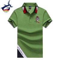 Поло зеленый белый военно-морской флот Мужчины с коротким рукавом высокое качество 100% хлопок мода дизайн Tace акула бренд мужские футболки Tees