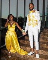 Elegant Evening Dresses Spaghetti Strap V-Neck Satin A-line Split Sweep Train Plus Size Women Formal Prom Party Gowns